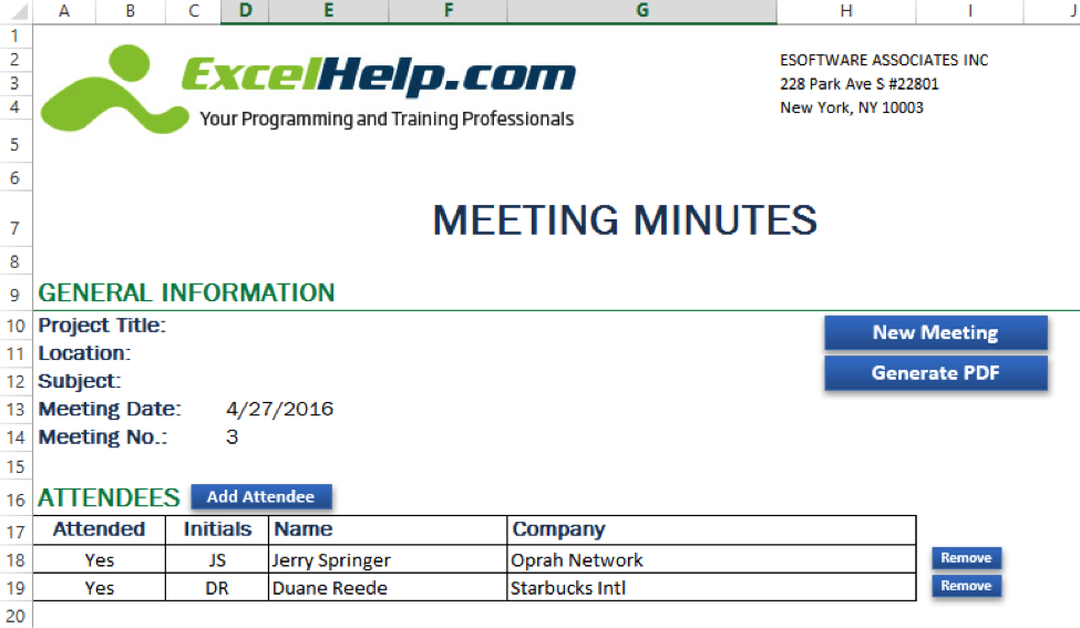 How to Automate Meeting Minutes Using Microsoft Excel and